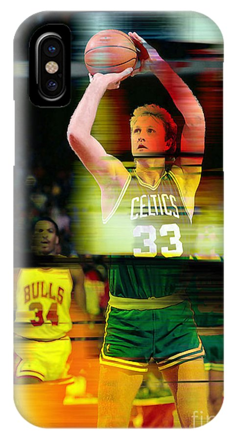 Bird Paintings IPhone X Case featuring the mixed media Larry Bird by Marvin Blaine