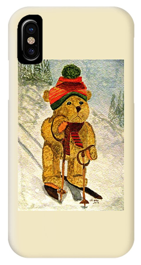 Bears IPhone X Case featuring the painting Learning To Ski by Angela Davies