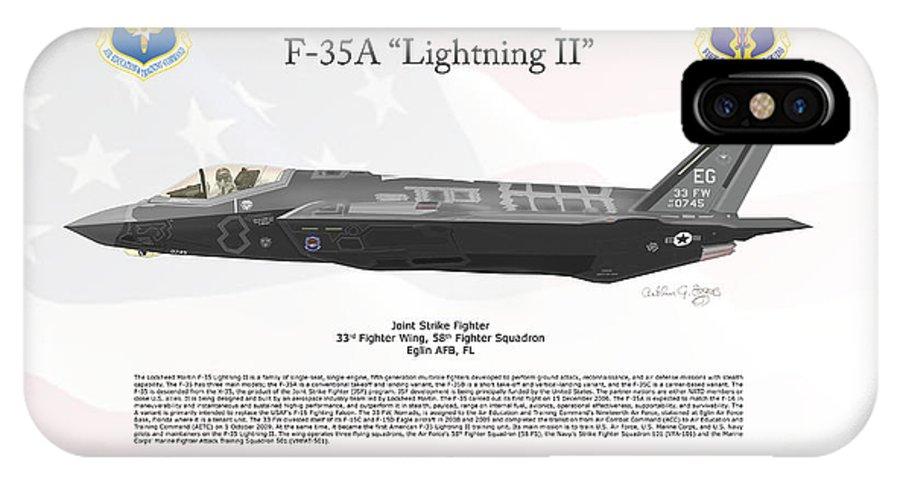 Lockheed Martin IPhone X Case featuring the digital art Lockheed Martin F-35a Lightning II Joint Strike Fighter by Arthur Eggers