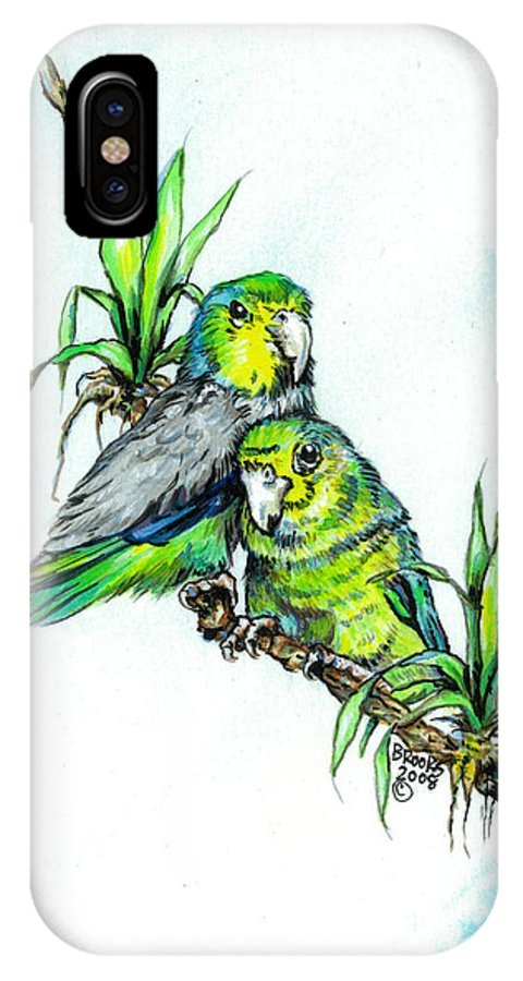 Parrolet IPhone Case featuring the painting Love Me Tender. by Richard Brooks