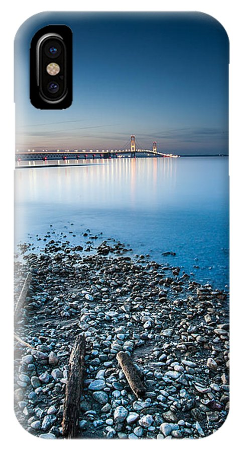 Michigan IPhone X Case featuring the photograph Mackinac Bridge by Larry Carr