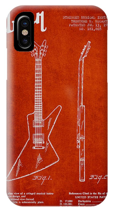 Gibson IPhone X Case featuring the digital art Mccarty Gibson Electrical Guitar Patent Drawing From 1958 - Red by Aged Pixel