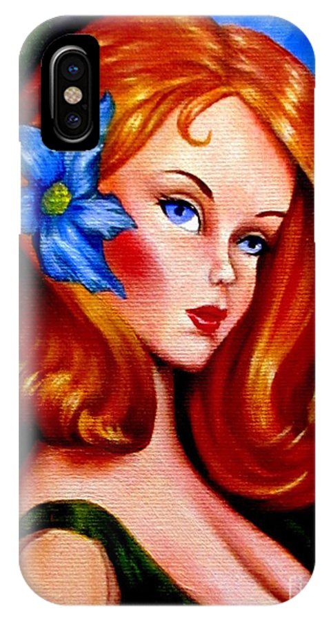 Art IPhone X Case featuring the painting Mod Barbie Redhead by Georgia's Art Brush
