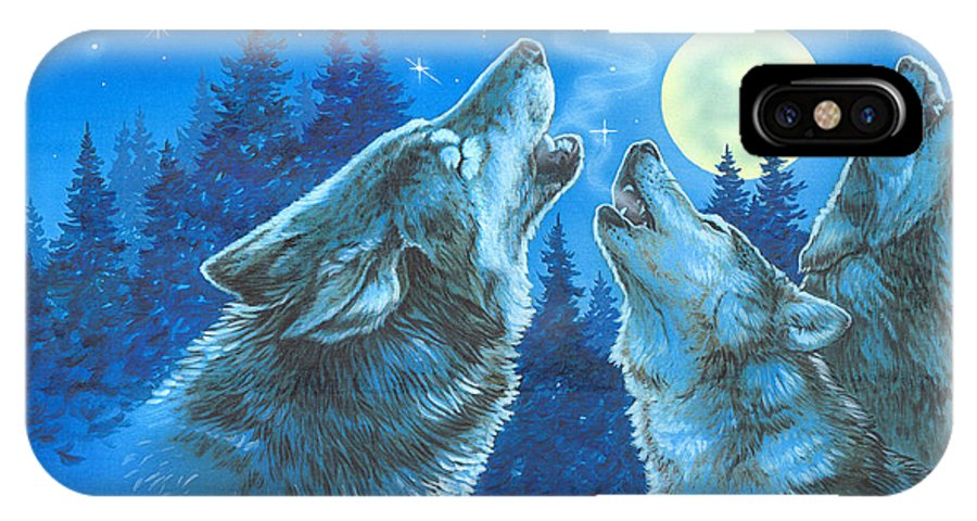 Wolves IPhone X Case featuring the painting Moon Song by Richard De Wolfe