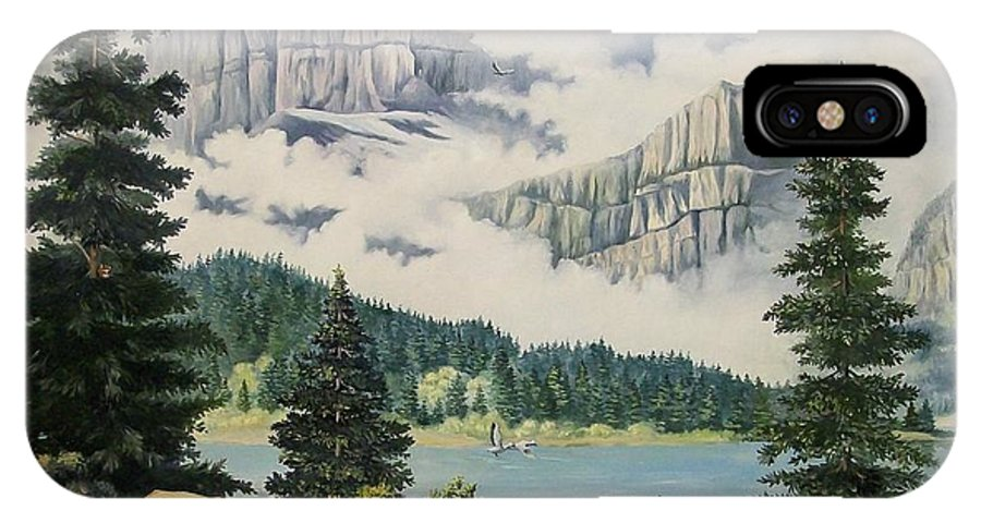 Landscape IPhone X Case featuring the painting Morning At The Glacier by Wanda Dansereau