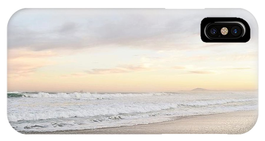 Dawn; Seascape; Beach; Landscape; Sand; Atlantic Ocean; Waves; Pink; Light; Sunrise; Cape Town; South Africa; Clouds; Blue; Sky; IPhone X Case featuring the photograph Morning Has Broken by Werner Lehmann
