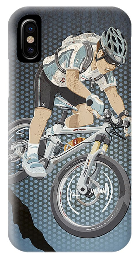Cycling IPhone X Case featuring the digital art Mountainbike Sports Action Grunge Color by Frank Ramspott