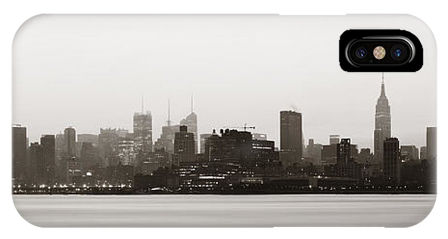 New York City IPhone X Case featuring the photograph New York City Silhouette by Songquan Deng