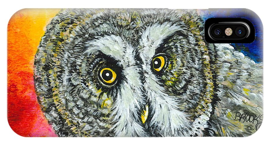 Owl IPhone X Case featuring the painting None The Wiser. by Richard Brooks