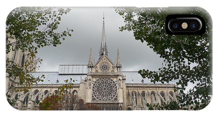 Paris IPhone X Case featuring the photograph Notre Dame Cathedral by Deborah Smolinske