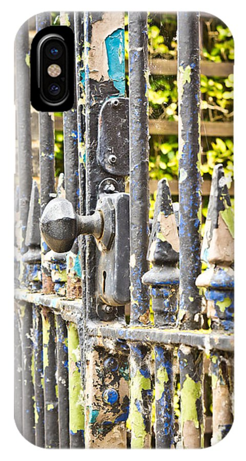 Abstract IPhone X Case featuring the photograph Old Gate by Tom Gowanlock