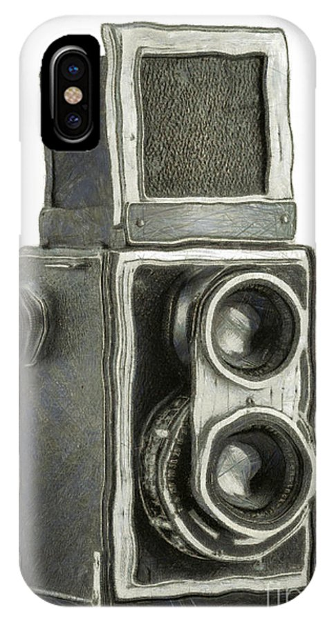 1940 IPhone X Case featuring the digital art Old Still Camera by Michal Boubin