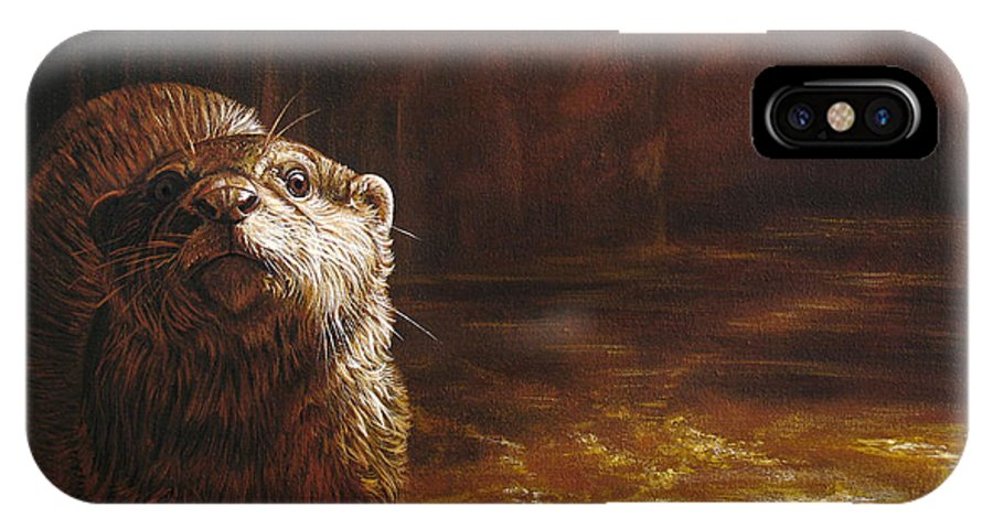 Otter IPhone X Case featuring the painting Otter Curiosity by Cara Bevan