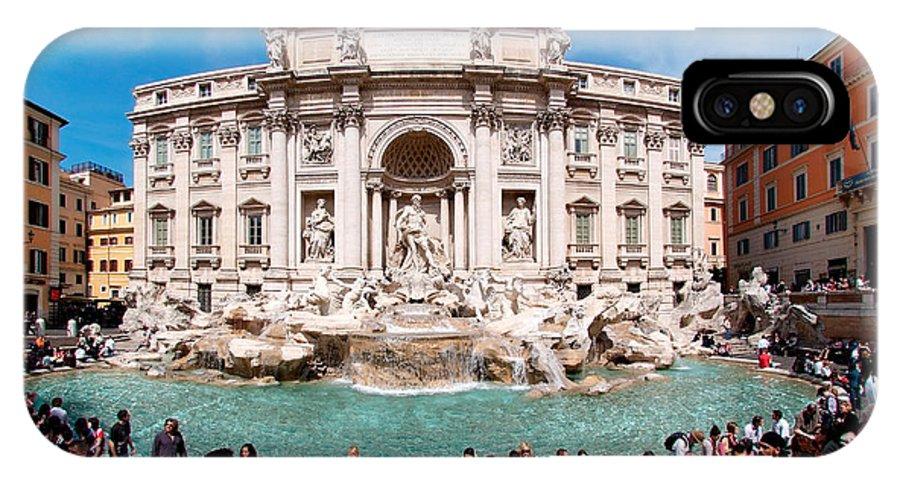 Fontana Di Trevi IPhone X Case featuring the photograph Panoramic View Of Fontana Di Trevi In Rome by George Atsametakis