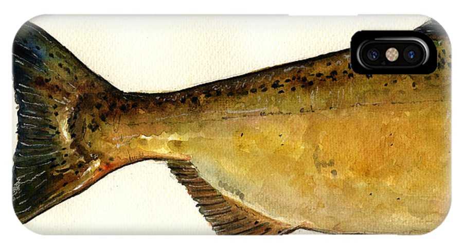Chinook IPhone X Case featuring the painting 2 Part Chinook King Salmon by Juan Bosco