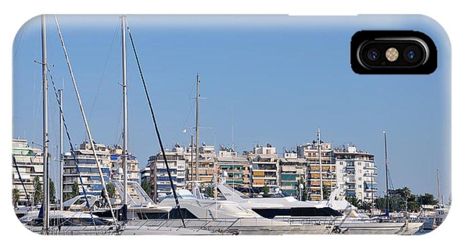 Pasalimani; Piraeus; Marina; Port; Harbor; Greece; Hellas; Greek; Hellenic; Attica; Attika; Attiki; Europe; European; Holidays; Vacation; Travel; Trip; Voyage; Journey; Tourism; Touristic; Blue Sky; Blue Sea; Yacht; Yachts; Motor; Sailing; Boat; Boats; Sea; Summer; Reflection; Reflections IPhone X Case featuring the photograph Pasalimani Port by George Atsametakis