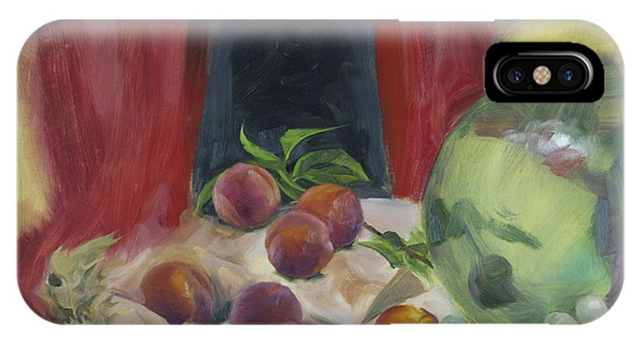 Black IPhone X Case featuring the painting Peaches by Roger Clark