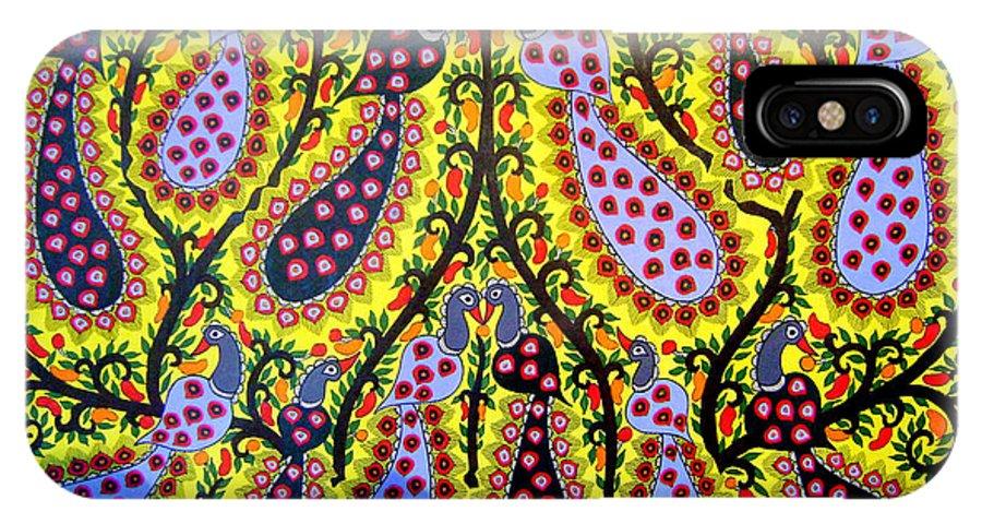 Madhubani Paintings IPhone X Case featuring the painting Peacocks by Neeraj kumar Jha