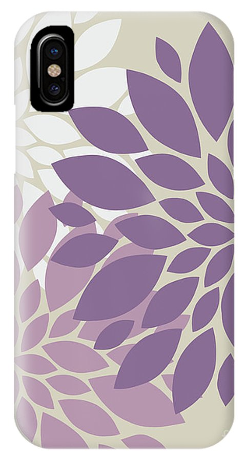 Violet IPhone X / XS Case featuring the digital art Peony Flowers by Voros Edit