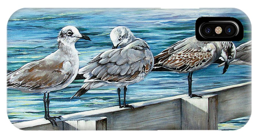 Seagulls IPhone X Case featuring the painting Pier Gulls by Joan Garcia