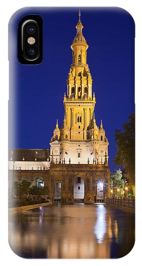 Plaza IPhone X Case featuring the photograph Plaza De Espana Tower In Seville by Artur Bogacki
