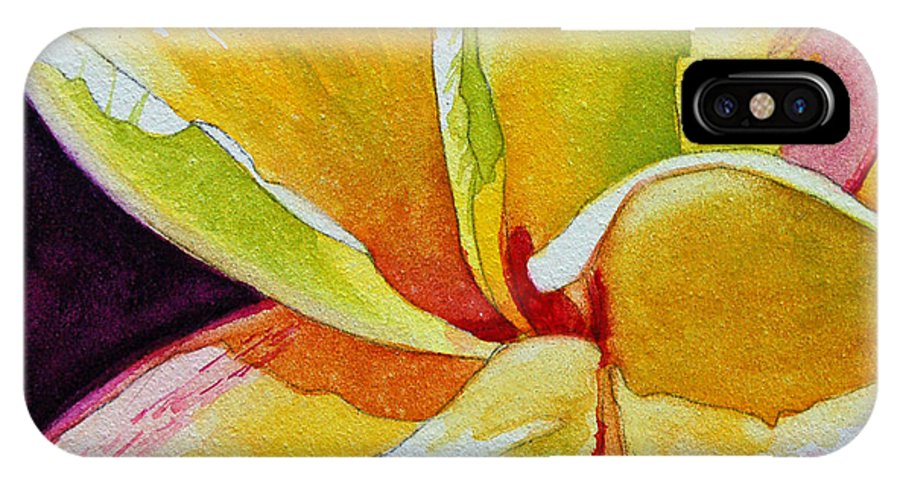 Plumeria IPhone X Case featuring the painting Plumeria by Terry Holliday