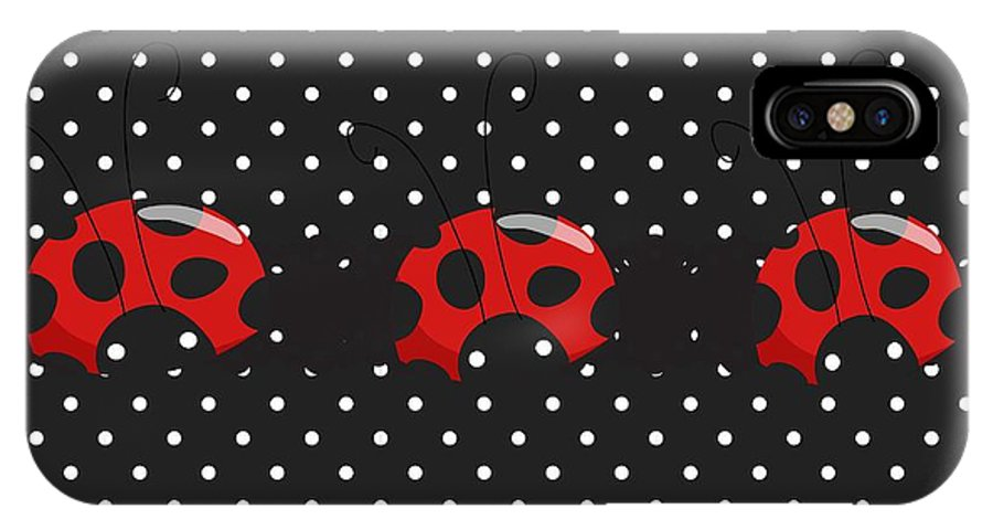 Polka Dots IPhone X Case featuring the digital art Polka Dot Lady Bugs by Debra Miller