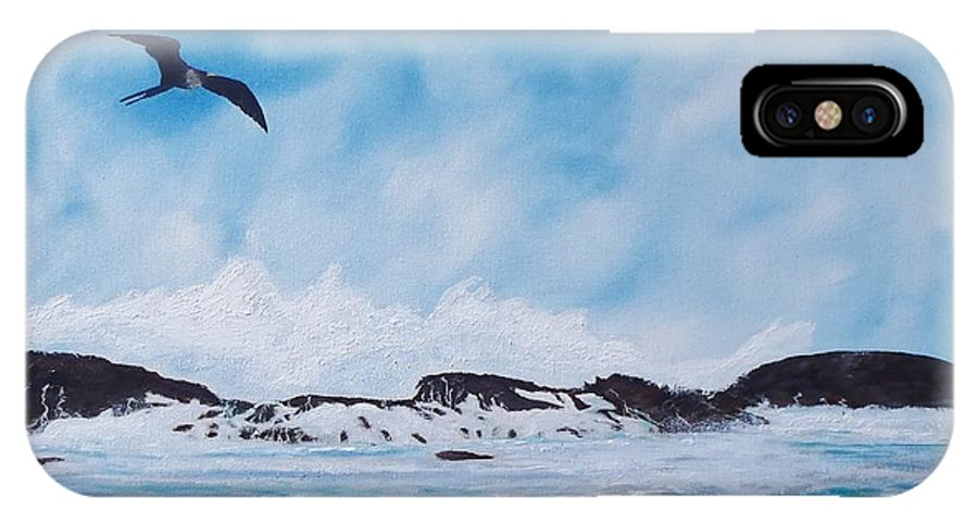 Seascape IPhone X Case featuring the painting Puerto Nuevo Beach by Tony Rodriguez