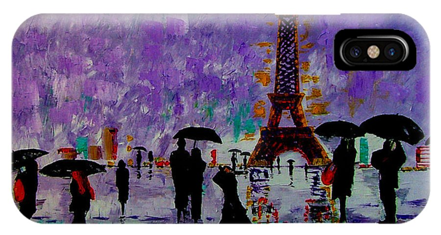Rain IPhone X / XS Case featuring the painting Rain In Paris by Inna Montano