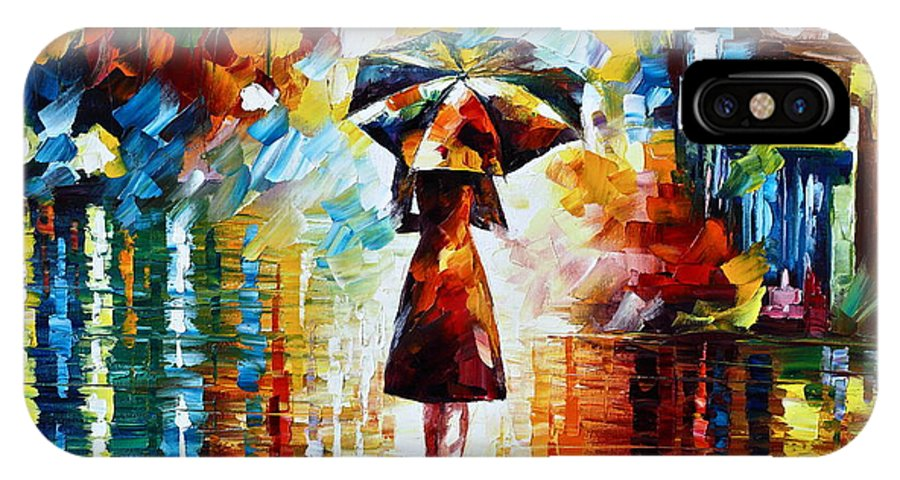 Rain IPhone X Case featuring the painting Rain Princess - Palette Knife Landscape Oil Painting On Canvas By Leonid Afremov by Leonid Afremov