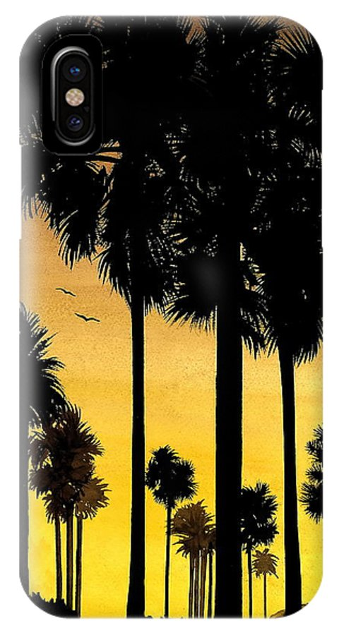 San Diego Sunset IPhone X Case featuring the painting San Diego Sunset by Larry Lehman