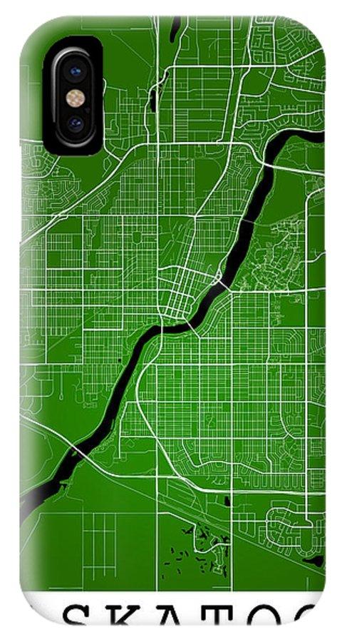 Road Map IPhone X Case featuring the digital art Saskatoon Street Map - Saskatoon Canada Road Map Art On Colored by Jurq Studio
