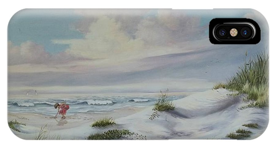 Landscape IPhone Case featuring the painting Shadows In The Sand Dunes by Wanda Dansereau