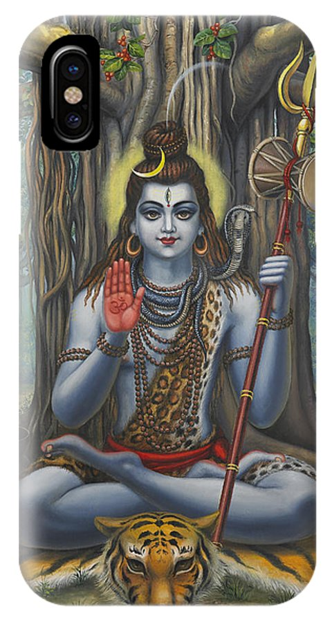 Shiva IPhone X Case featuring the painting Shiva by Vrindavan Das