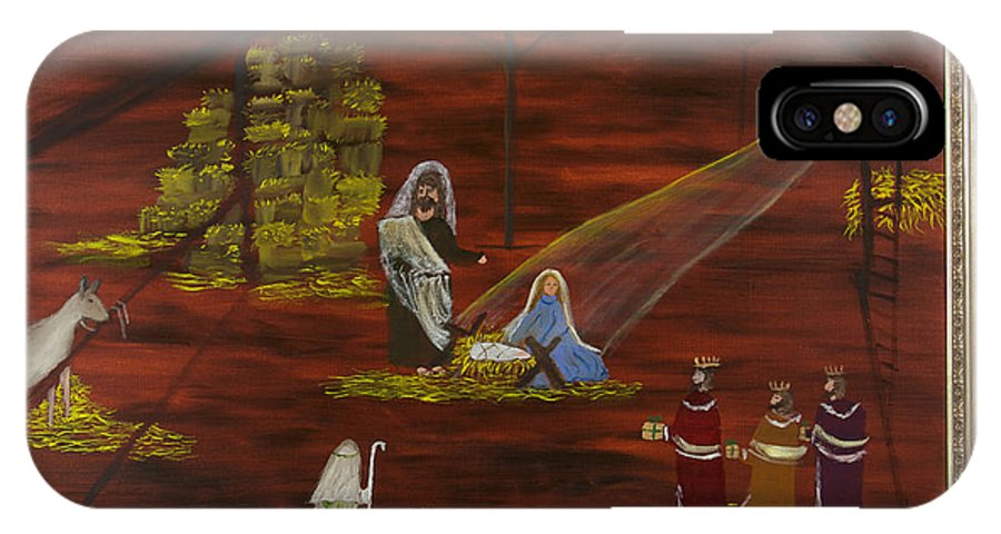 Nativity IPhone X Case featuring the painting Silent Night by Margaret Pappas