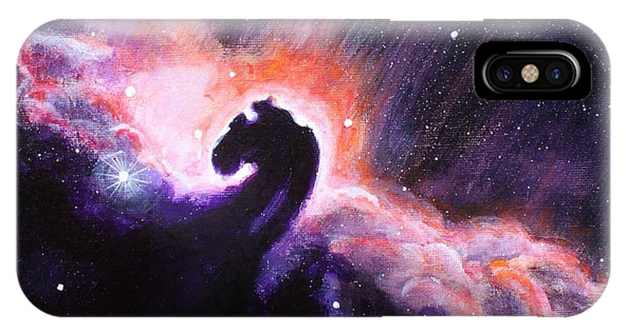Space IPhone X Case featuring the painting Sky Horse by Claire Frawley