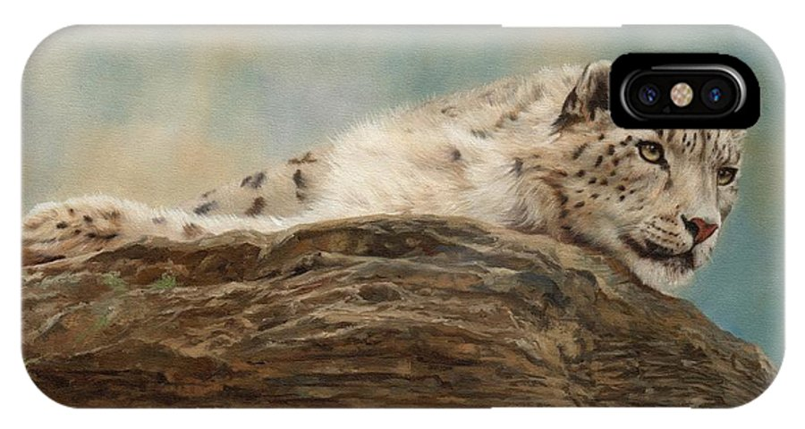 Snow Leopard IPhone X Case featuring the painting Snow Leopard by David Stribbling
