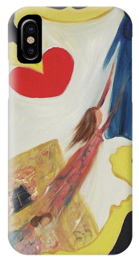 Angel IPhone X Case featuring the painting Spiritual Experience by Suzanne Marie Leclair