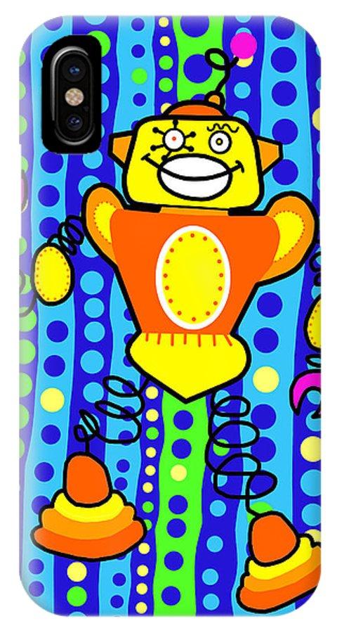 Pop Art IPhone Case featuring the painting Spirobot by Lynnda Rakos