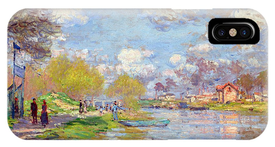 Claude Monet IPhone X Case featuring the painting Spring By The Seine by Claude Monet