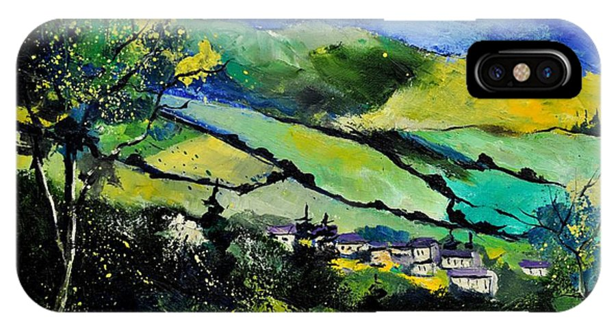 Landscape IPhone X Case featuring the painting Spring Landscape by Pol Ledent