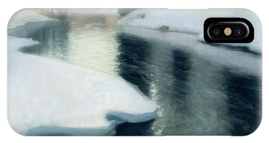 Ice; Melting; Seasons; Water; Thawing; Riverbank; Bank IPhone X Case featuring the painting Spring Thaw by Fritz Thaulow