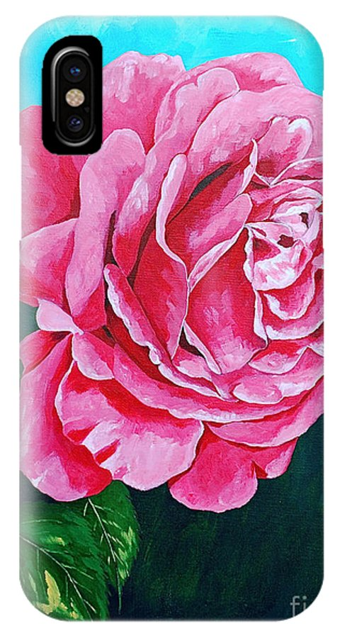 Red Rose Pink Rose IPhone X Case featuring the painting Summer Rose by Herschel Fall