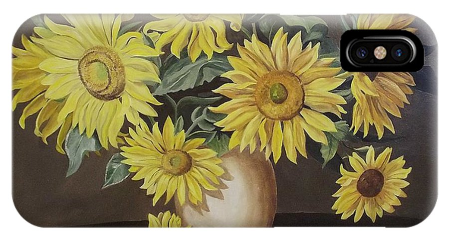Flowers IPhone X Case featuring the painting Sunshine And Sunflowers by Wanda Dansereau