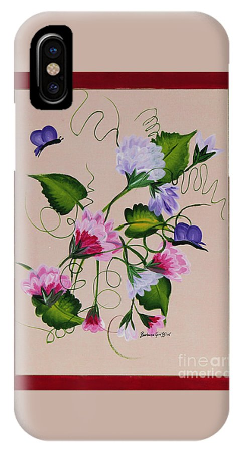 Barbara Griffin IPhone X Case featuring the painting Sweet Peas And Butterflies by Barbara Griffin