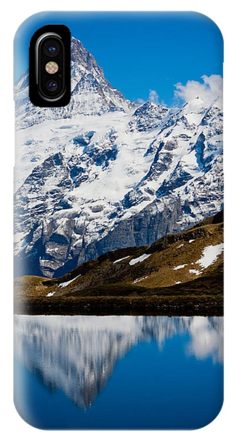 Alps IPhone X Case featuring the photograph Swiss Alps - Schreckhorn Reflection by Anthony Doudt