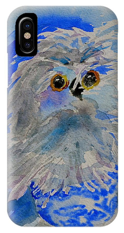 Owl IPhone X Case featuring the painting Teacup Owl by Beverley Harper Tinsley
