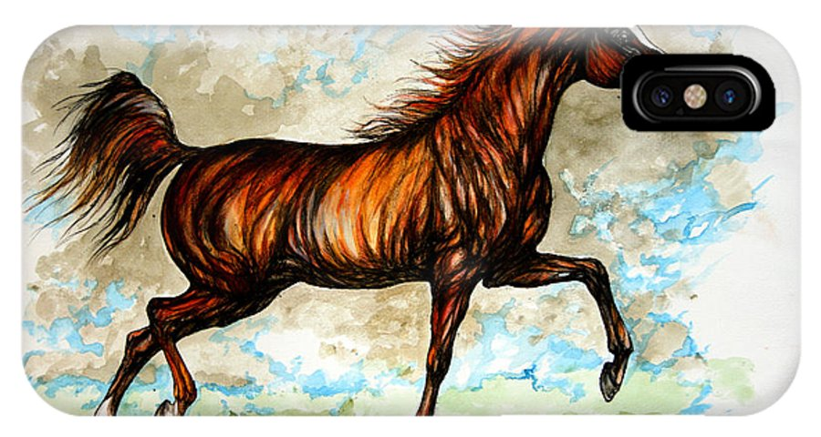 Horse IPhone X Case featuring the painting The Chestnut Arabian Horse by Angel Ciesniarska