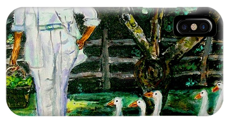 Acrylic IPhone X Case featuring the painting The Five Ducks by Helena Bebirian