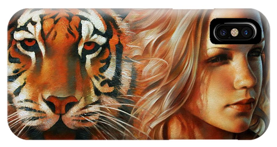 Portrait Paintings IPhone X Case featuring the painting Tiger by Arthur Braginsky